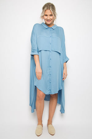 PQ Collection - Cascade Shirt Dress - Sky