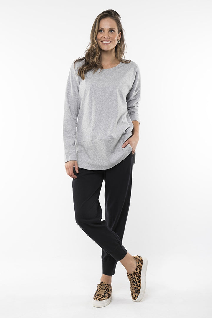 Elm - Fundamental Long Sleeve Rib Tee - Grey Marle