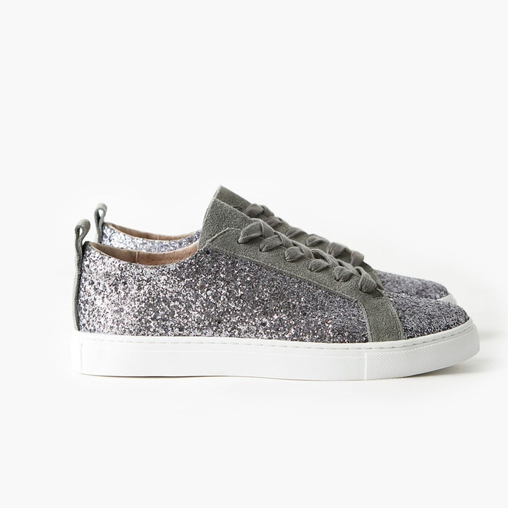 Walnut Melbourne - Harlow Leather Sneaker - Charcoal Glitter