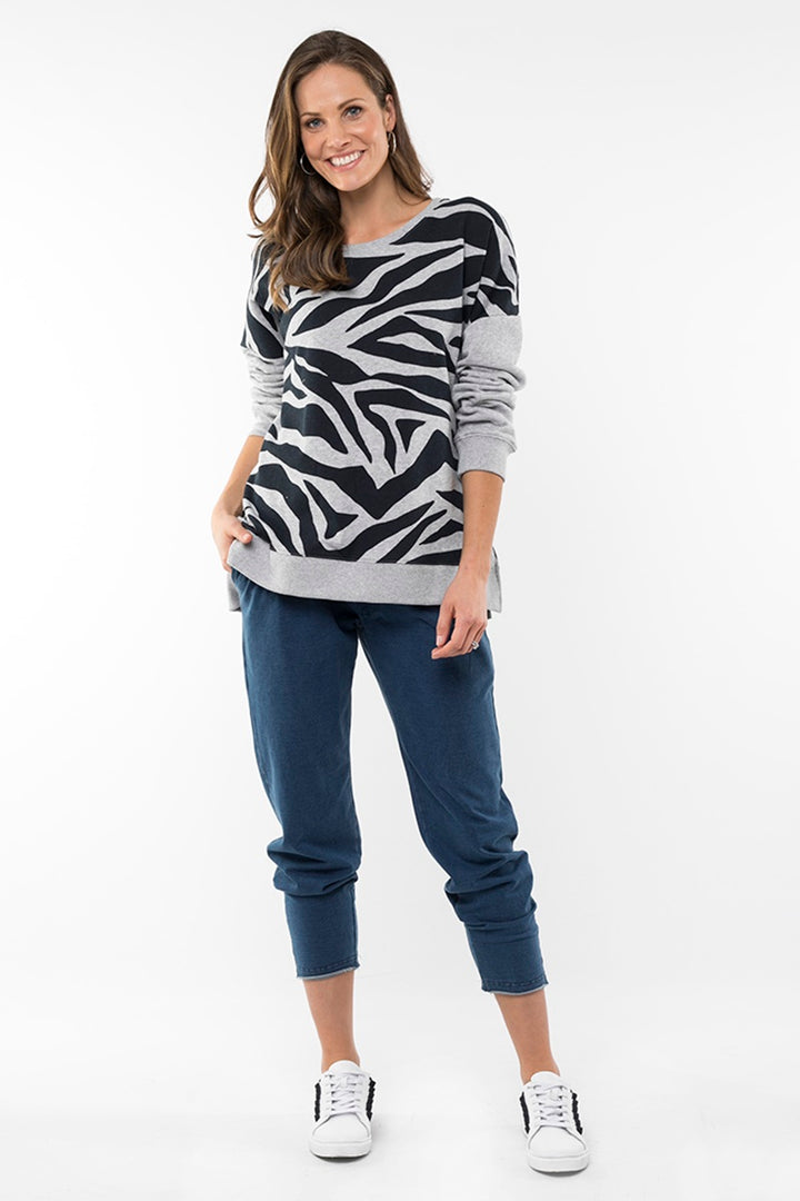 Elm - Roaming Around Crew - Grey Zebra Print