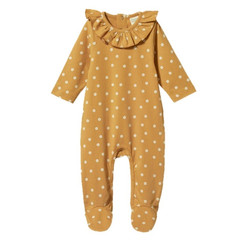 Nature Baby - Ruffle Florence Suit - Chamomile Straw Print