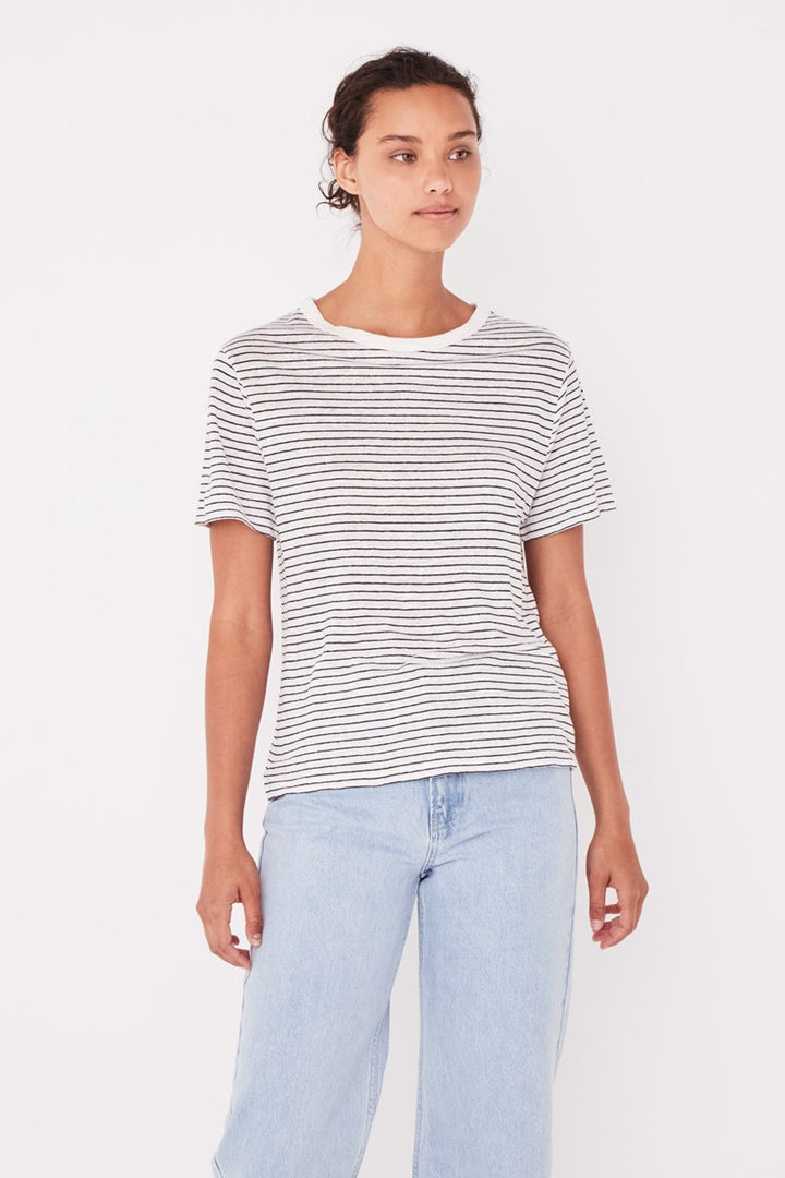Assembly Label - Linen Tee - Vintage White Stripe