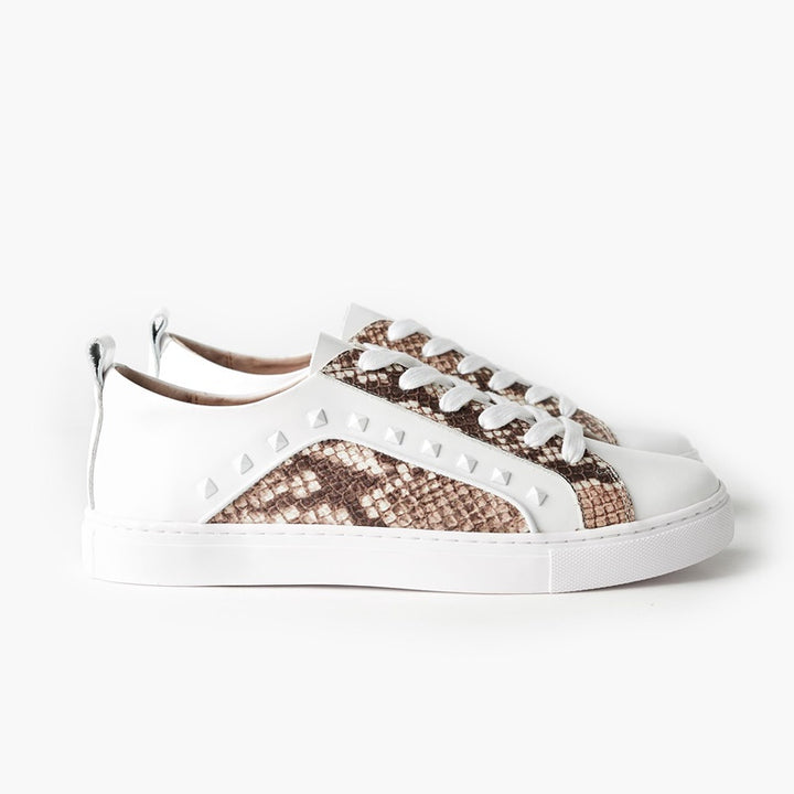 Walnut Melbourne - The Hatch Leather Sneaker - White