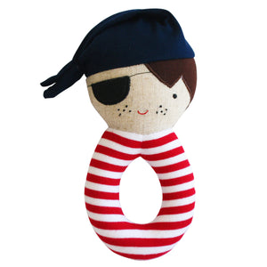 Alimrose Linen Pirate Grab Rattle in Navy