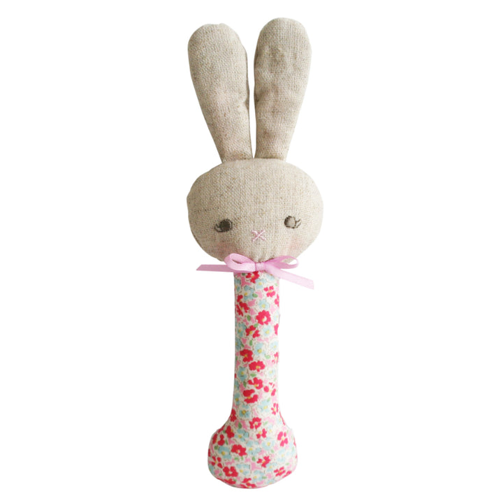 Alimrose Rosie Bunny Stick Rattle in Sweet Floral