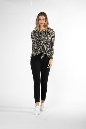 Betty Basics - Willow Knot Top - Black & Beige Sahara