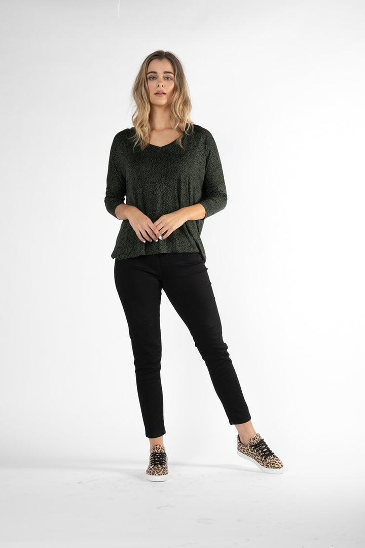 Betty Basics - Bilbao Top - Olive & Black Terrain