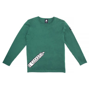 Band of Boys Long Sleeve Tee Cool Crayon in Green Front View