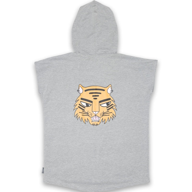 Band of Boys Sleeveless Hood Cat Badges in Marle Grey Back View