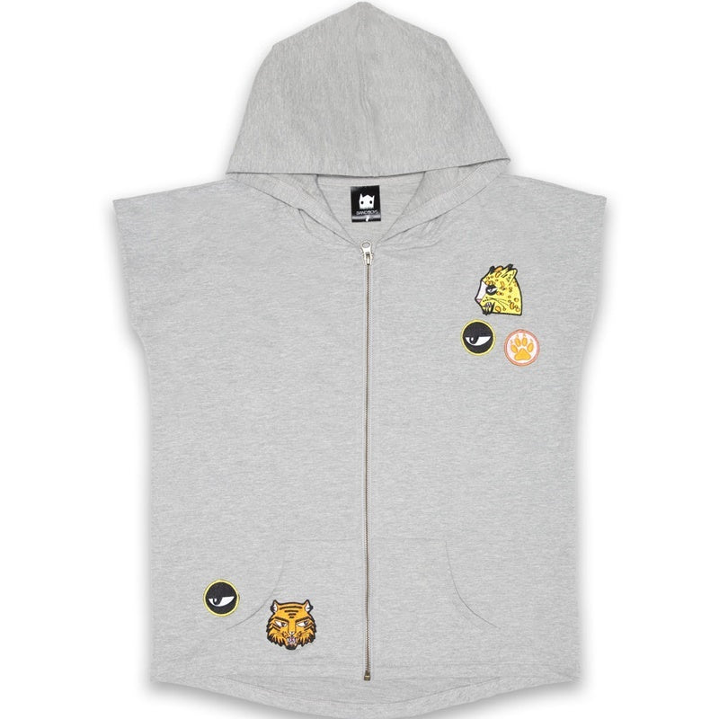 Band of Boys Sleeveless Hood Cat Badges in Marle Grey Front View