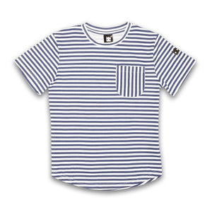 Band of Boys Tee Crazy Eddie Stripe in Navy & White Stripe Front View