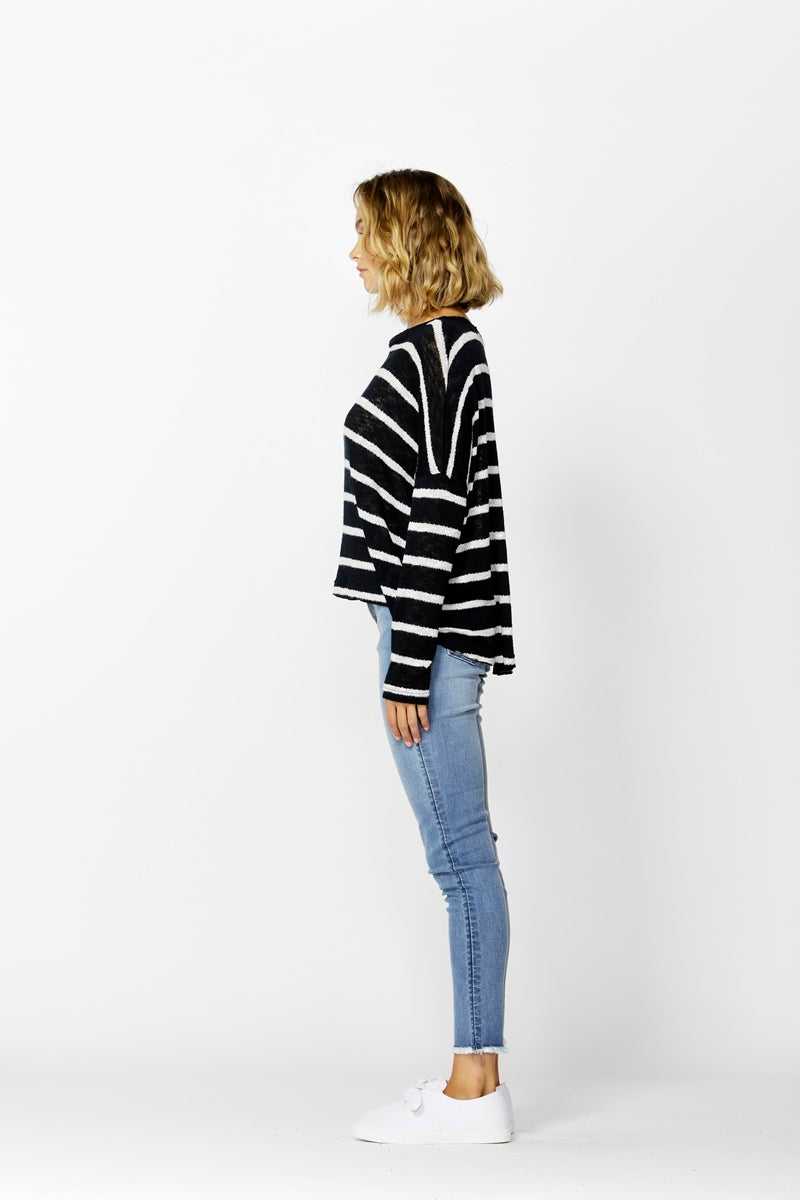 Betty Basics - Clio Knit Jumper - Ink and White