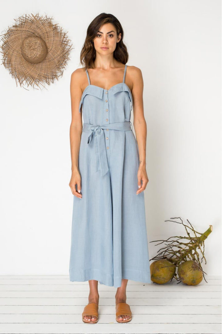 Bird & Kite Eyes for You Jumpsuit in Mineral Blue