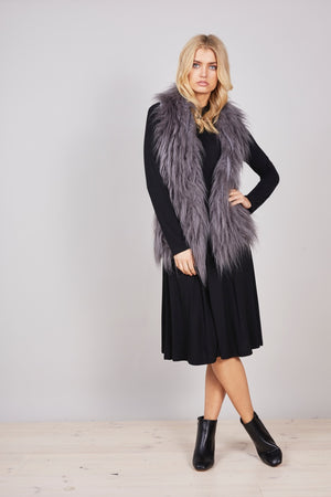 Brave & True Knit Fur Vest in Charcoal