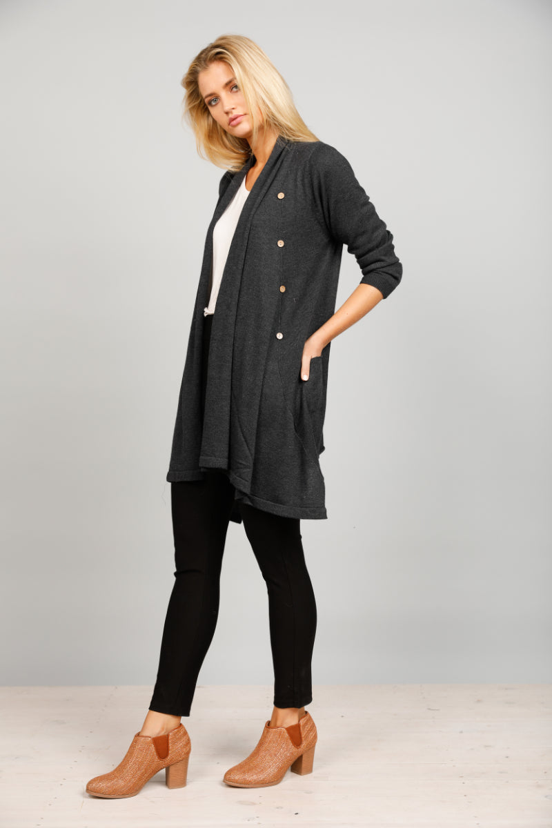 Brave & True Timberland Cardi in Charcoal
