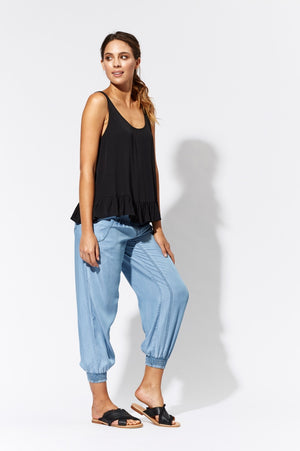 Eb & Ive La Palamita Frill Top in Black