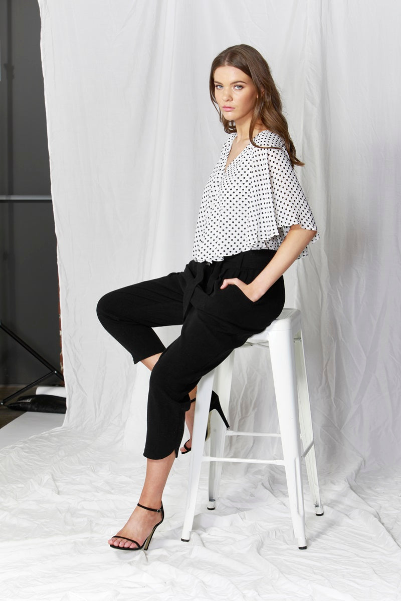 Fate + Becker - Bronte Top - Pearl with Black Dots
