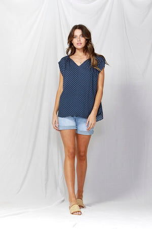 Fate + Becker - Dakota V-Neck Blouse - Navy & White Dots
