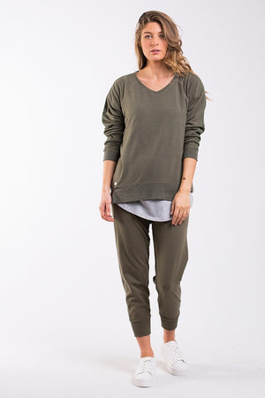 Foxwood - Astoria Vee Long Sleeve - Khaki