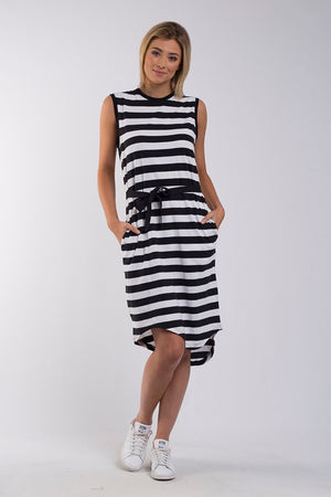 Foxwood - Jimbaran Bay Dress - Black/White Stripe