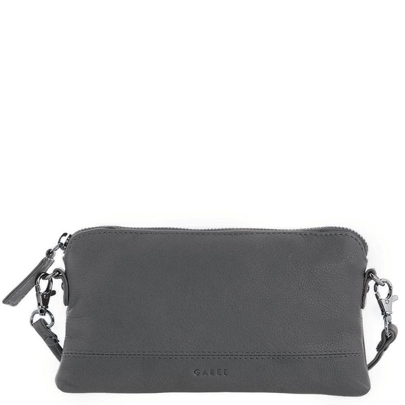 Gabee Kara Leather Purse With Strap in Grey