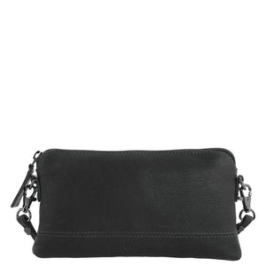 Gabee Kara Leather Purse With Strap in Navy