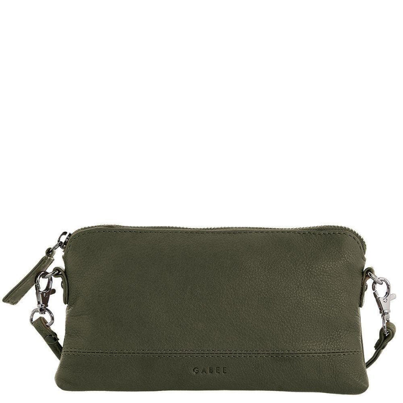 Gabee Kara Leather Purse With Strap in Olive