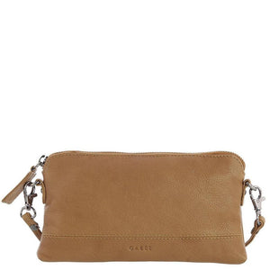 Gabee Kara Leather Purse With Strap in Tan