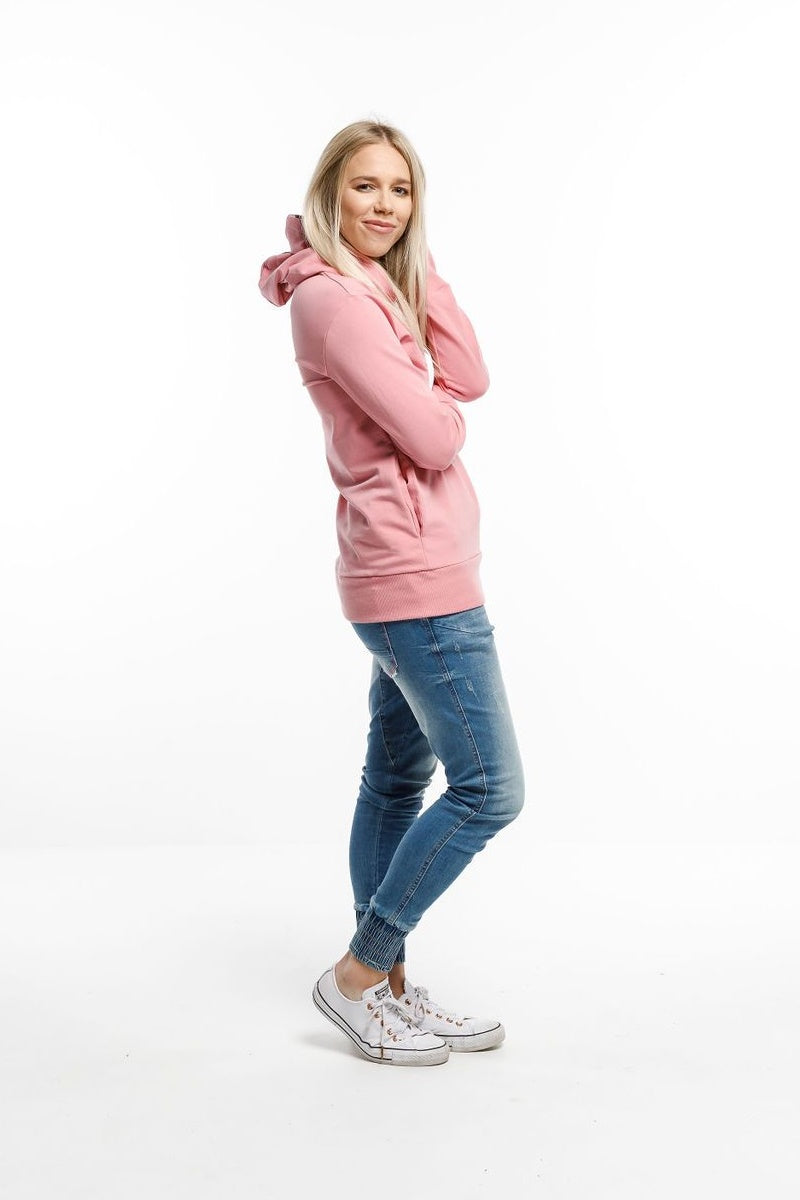 Home-Lee - Hooded Sweatshirt - Rose Pink with X