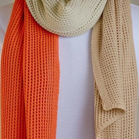 Hello Friday - The Stylist Tri Coral Scarf