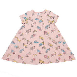 Hoot Kid Summer Swing Dress in Unicorn Ballet Pink