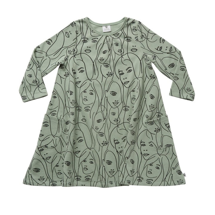 Hoot Kid All the Faces Swing Dress in Sage