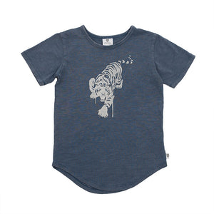 Hoot Kid Bengal Slub Tee in Cobalt