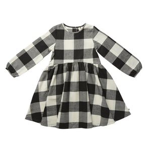 Hoot Kid Checked Out Dress in Black Check