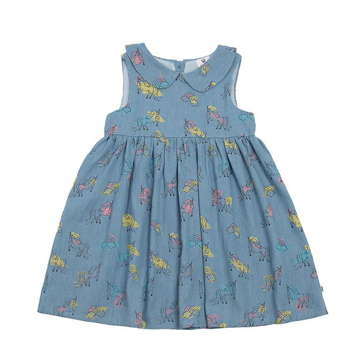 Hoot Kid Ella Dress in Chambray Unicorn print