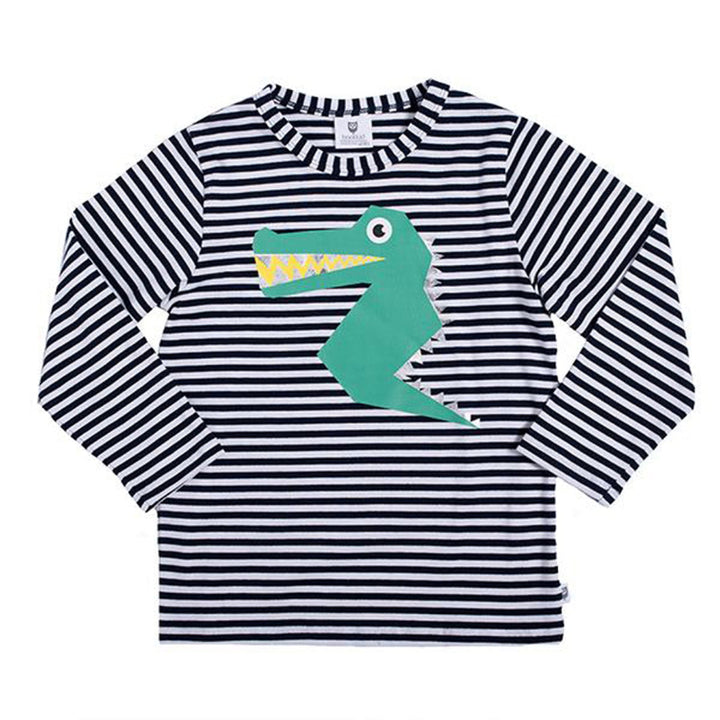 Hoot Kid Happy Croc Tee in Navy/White Stripe