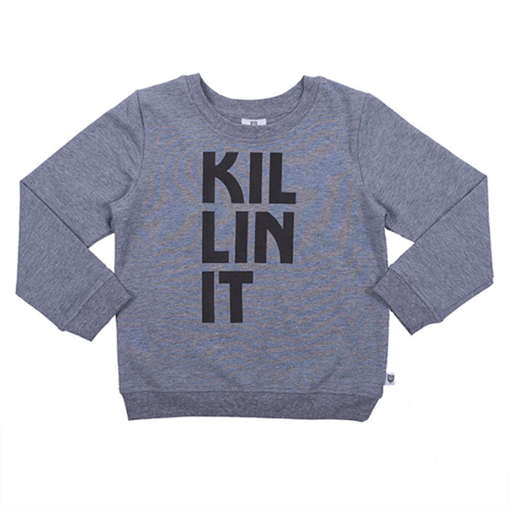 Hoot Kid Killin It Sweat in Light Grey Marle