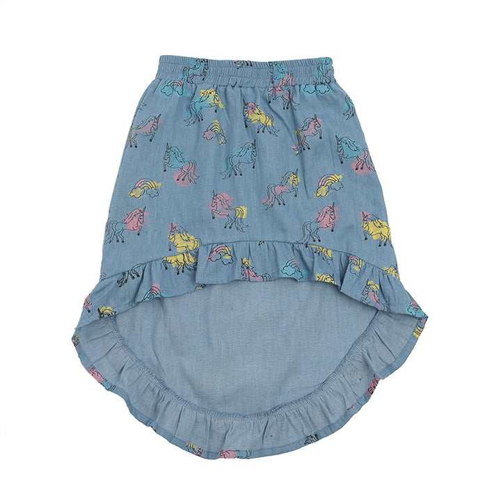 Hoot Kid Midi Skirt in Unicorn Chambray print