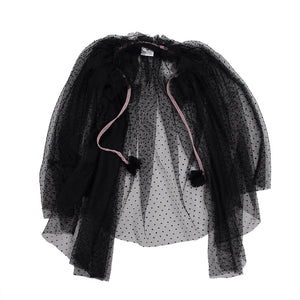 Hoot Kid My Way Party Cape Black Polka Dot Tulle