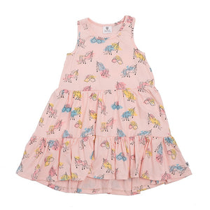 Hoot Kid Pretty Girl Dress in Ballet Pink Unicorn