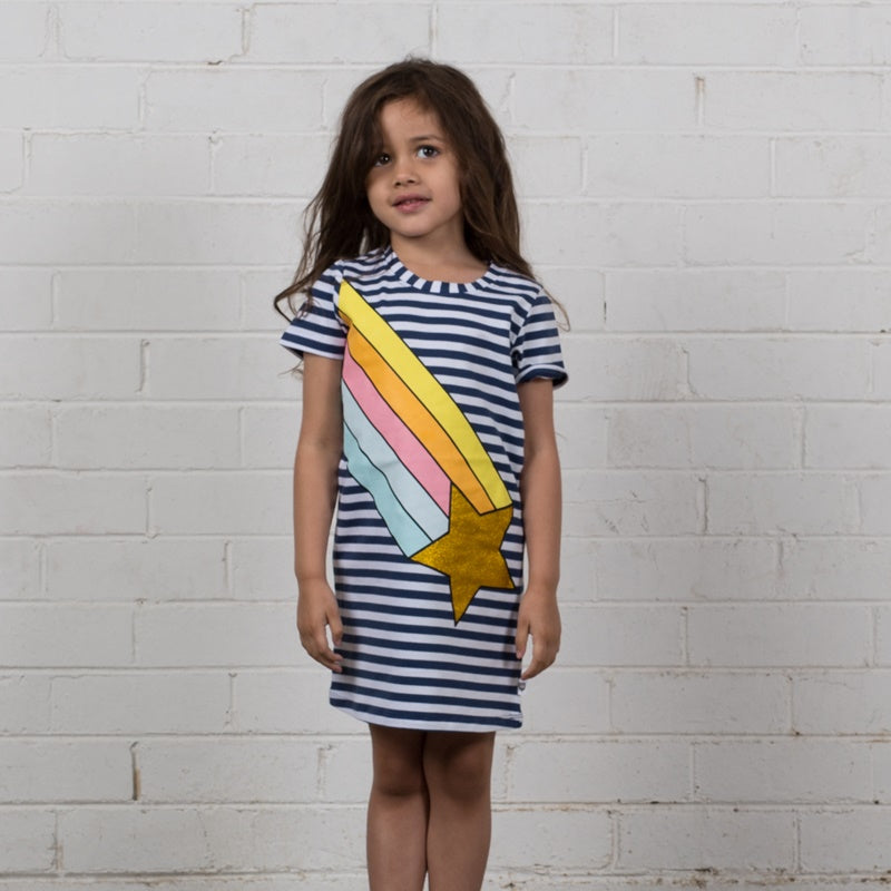 Hoot Kid Rainbow Galaxy Dress in Navy Stripe