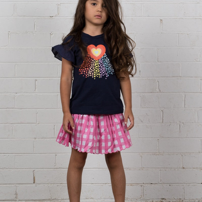 Hoot Kid Rainbow Galaxy Tee in Navy