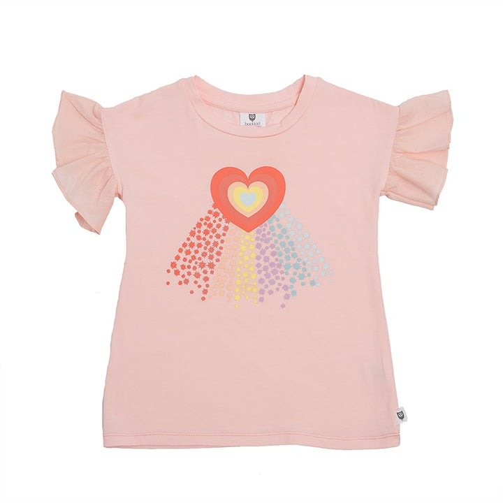 Hoot Kid Rainbow Galaxy Tee in Ballet Pink