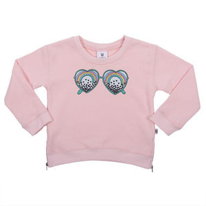Hoot Kid See the Love Sweater in Ballet Pink