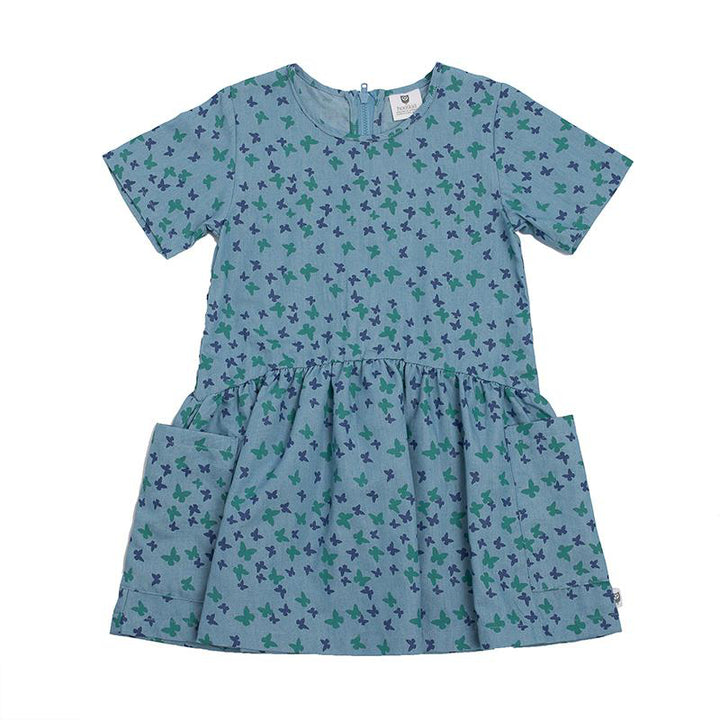 Hoot Kid Seen it All Dress in Chambray Butterfly print