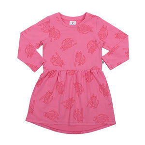 Hoot Kid Sit Boo Boo Dress in Candy Pink/Red