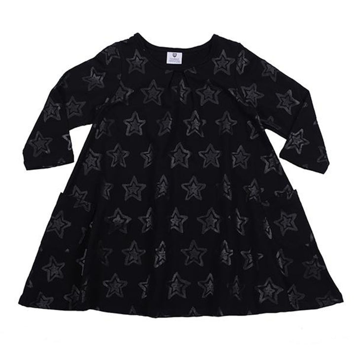Hoot Kid Stars and Smiles Swing Dress in Black