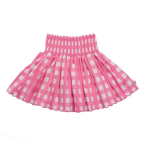 Hoot Kid Summer Scallop Skirt in Candy Check