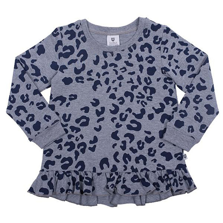 Hoot Kid Take a Chance Sweater in Grey Marle/Navy