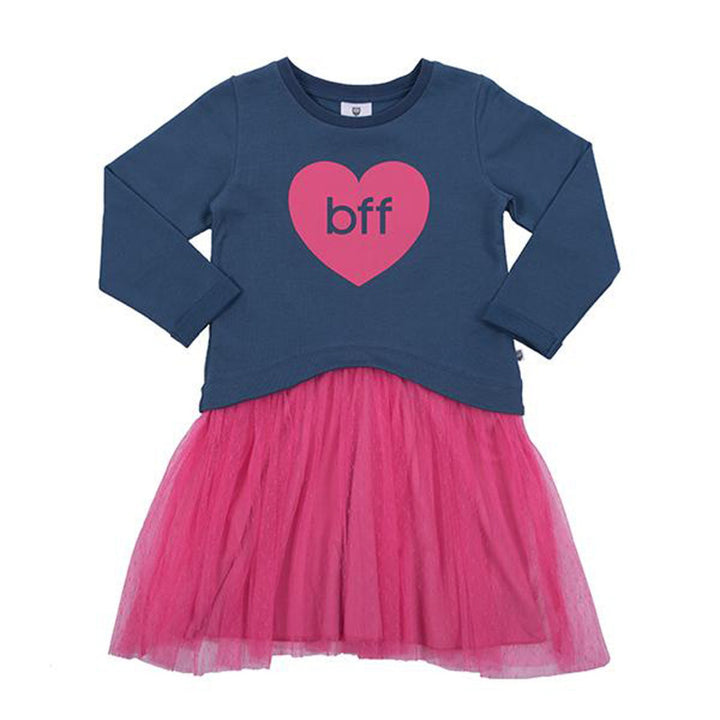 Hoot Kid The BFF Party Dress in Washed Navy/Hot Pink